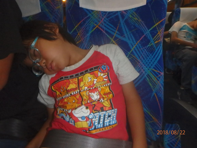 バスの中で眠る子どもの様子