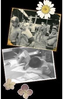 施設の子供が海水浴前の準備運動をする様子。こども二人が机に向かって勉強する様子。